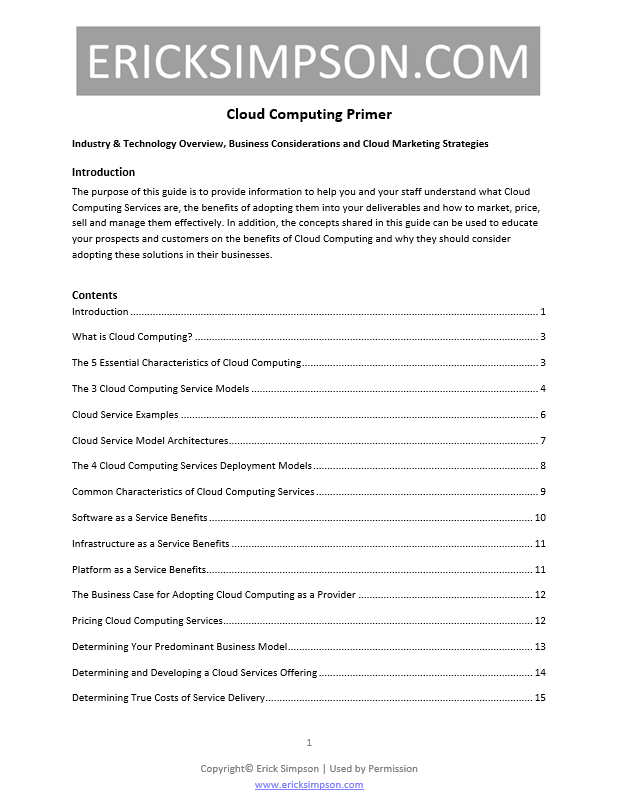 Erick Simpson's Cloud Computing Primer