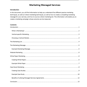 Erick Simpson's Marketing Managed Services White Paper