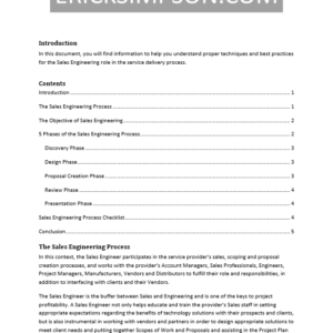 Erick Simpson's Sales Engineering Process White Paper