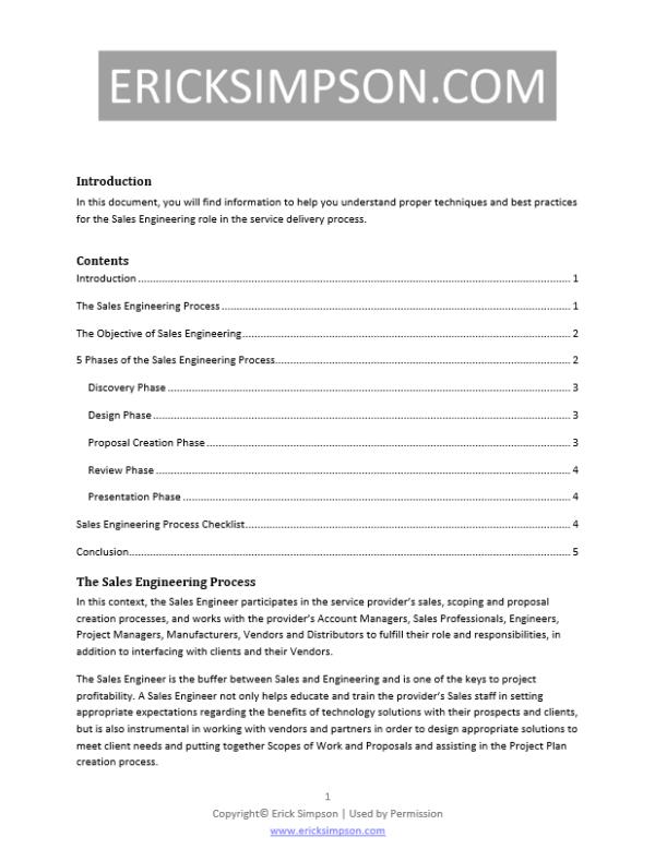 Erick Simpson's Sales Engineering Process White Paper