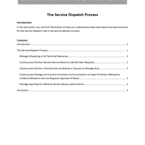 Erick Simpson's Service Dispatch Process White Paper