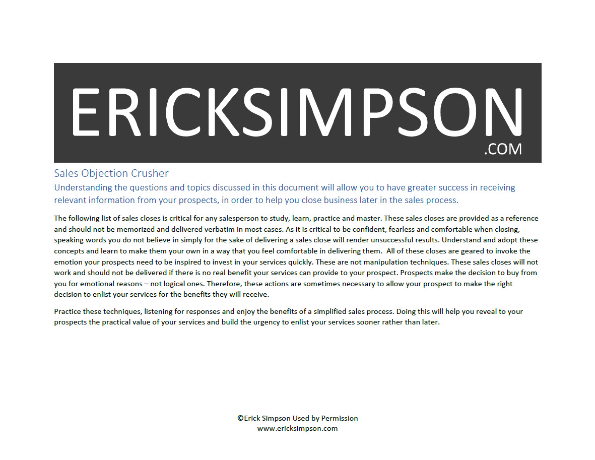 Erick Simpson's Sales Objections Crusher