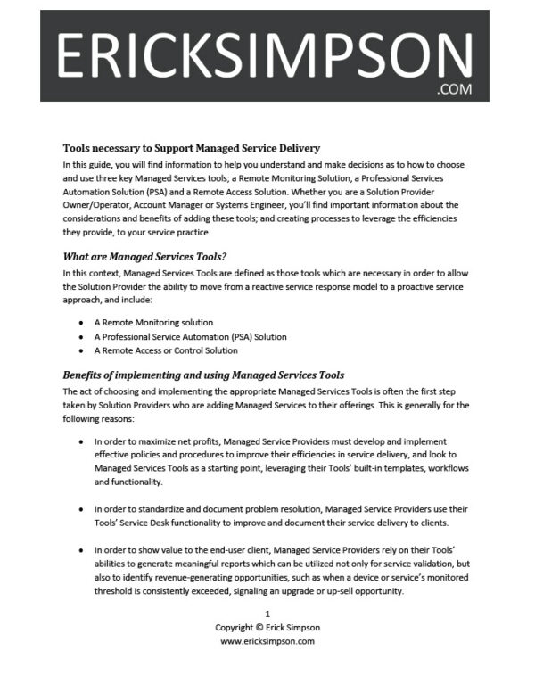 Erick Simpson's Tools Necessary for Managed Services Delivery White Paper
